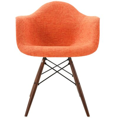 Quintus Padded Upholstered Dining Chair Upholstery Color: Orange, Leg Color: Walnut