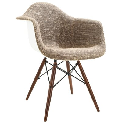 Quintus Padded Upholstered Dining Chair Upholstery Color: Taupe, Leg Color: Walnut