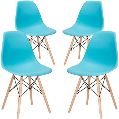 Vortex Solid Wood Dining Chair Seat Color: Aqua, Base Finish: Natural