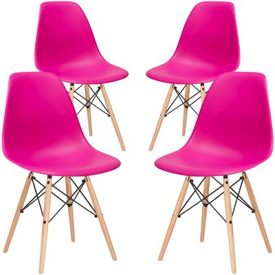 Vortex Solid Wood Dining Chair Seat Color: Fuchsia, Base Finish: Natural