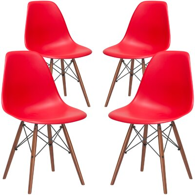 Quintus Dining Chair Seat Color: Red, Base Finish: Walnut