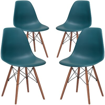 Vortex Solid Wood Dining Chair Seat Color: Teal, Base Finish: Walnut
