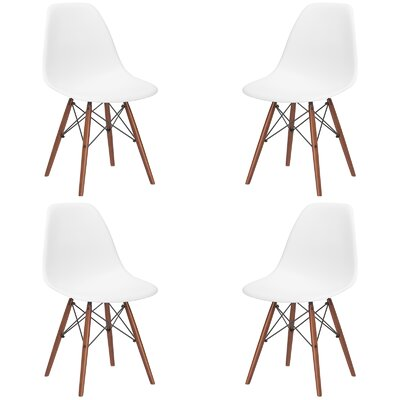 Quintus Dining Chair Seat Color: White, Base Finish: Walnut