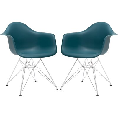 Rafael Arm Chair (Set of 2) Upholstery: Teal, Leg Finish: Black