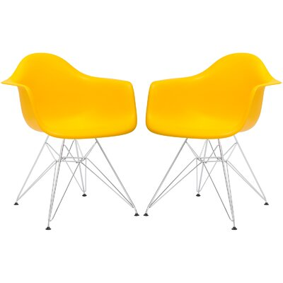 Rafael Arm Chair (Set of 2) Upholstery: Yellow, Leg Finish: Black