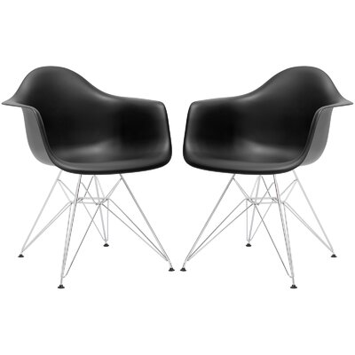 Padget Arm Chair (Set of 2) Upholstery: Black, Leg Finish: Chrome