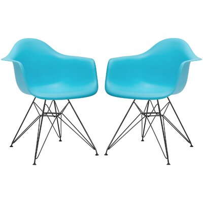 Rafael Arm Chair (Set of 2) Upholstery: Aqua, Leg Finish: Black