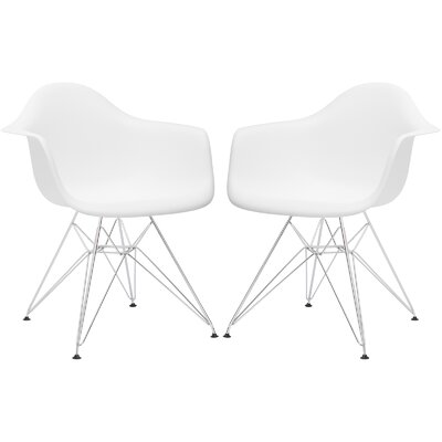 Rafael Arm Chair (Set of 2) Upholstery: White, Leg Finish: Chrome