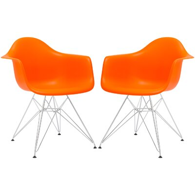 Rafael Arm Chair (Set of 2) Upholstery: Orange, Leg Finish: Black