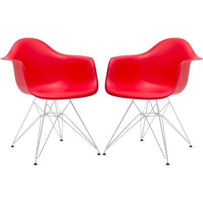 Rafael Arm Chair (Set of 2) Upholstery: Red, Leg Finish: Black