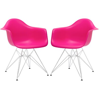 Rafael Arm Chair (Set of 2) Upholstery: Fuchsia, Leg Finish: Chrome