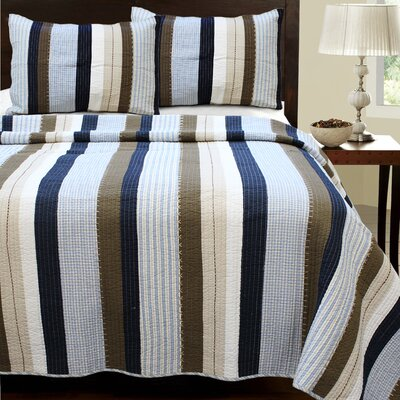 Nathan Striped Quilt Set Size: Full/Queen