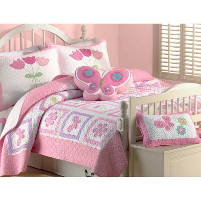 Butterfly Flower 2 Piece Twin Quilt Set