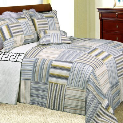 Kevin Striped Patchwork Quilt Set Size: King