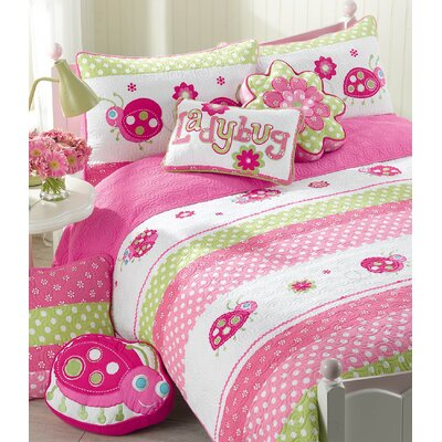 Pink Ladybug Cotton 3 Piece Quilt/Coverlet Set Size: Twin