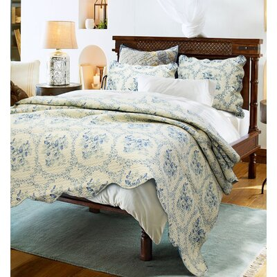 Reminiscent Mood 3 Piece Quilt Set Color: Blue, Size: King