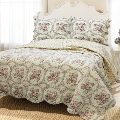 Reminiscent Mood 3 Piece Quilt Set Size: King, Color: Red