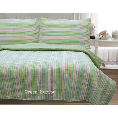 William Stripe 3 Piece Full/Queen Quilt Set Color: Green