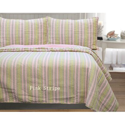 William Stripe 3 Piece Full/Queen Quilt Set Color: Pink