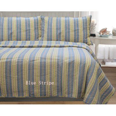 William Stripe 3 Piece Full/Queen Quilt Set Color: Blue