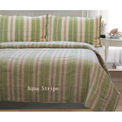 William Stripe 3 Piece Full/Queen Quilt Set Color: Aqua