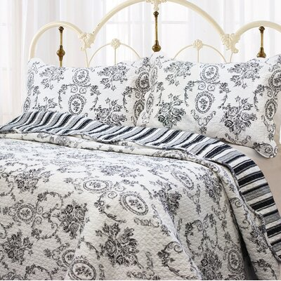 French Medallion 3 Piece Quilt Set Size: Full/Queen, Color: Black