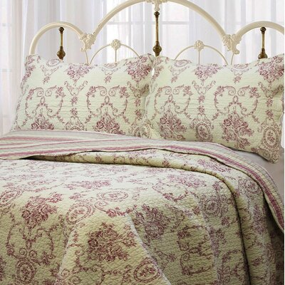 French Medallion 3 Piece Quilt Set Size: King, Color: Red