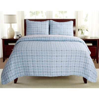 Aria Quilt Set Color: Blue, Size: King