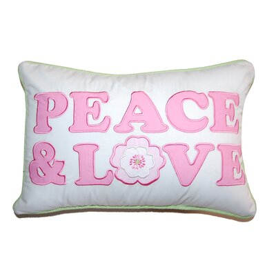 Greta Pastel Peace & Love Decorative Cotton Lumbar Pillow