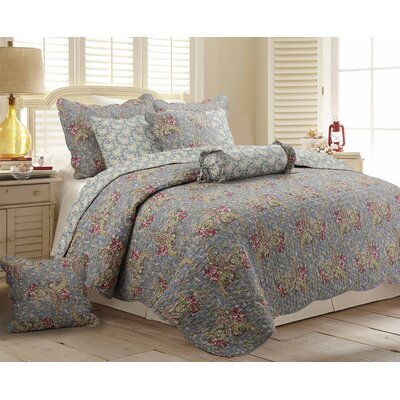 Floral Paisley 3 Piece Reversible Quilt Set Size: King