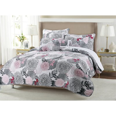 Trista Floral 3 Piece Quilt Set Size: King
