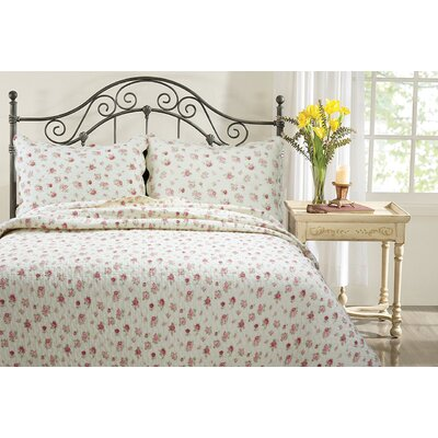 Pink Rose Garden 3 Piece Quilt Set Size: King