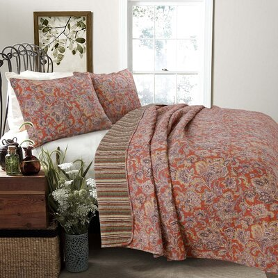 Lara Spice Paisley 3 Piece Reversible Quilt Set Size: King