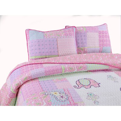 Carmela 100% Cotton Reversible Quilt Set Size: Full/Queen