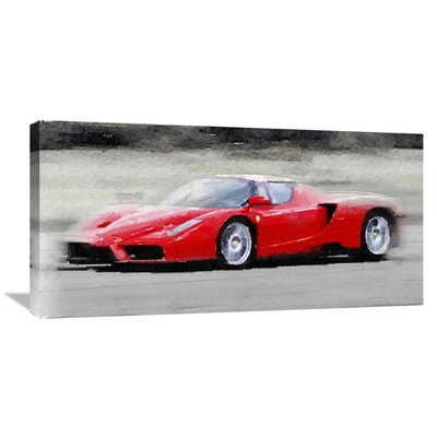 '2002 Ferrari Enzo Watercolor' Painting Print on Wrapped Canvas Size: 18