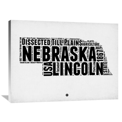 'Nebraska Word Cloud 2' Textual Art on Wrapped Canvas Size: 30