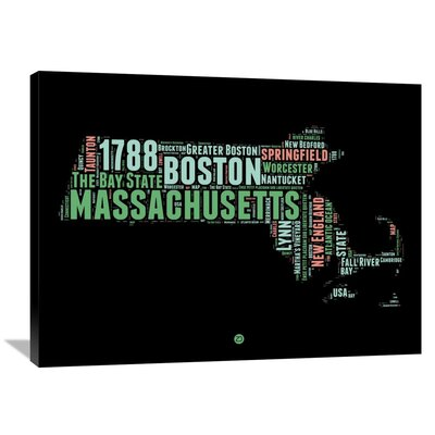 'Massachusetts Word Cloud 1' Textual Art on Wrapped Canvas Size: 30