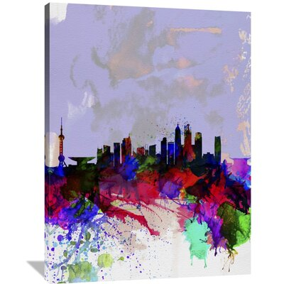 'Shanghai Watercolor Skyline' Painting Print on Wrapped Canvas Size: 48