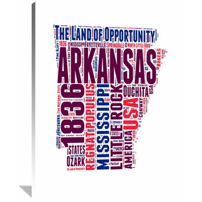 'Arkansas Word Cloud Map' Textual Art on Wrapped Canvas Size: 24