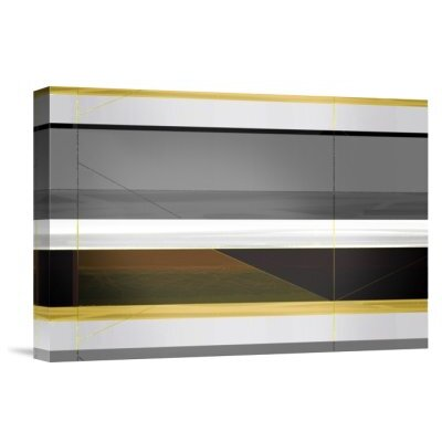 'Abstract Grey and Yellow Stripes' Graphic Art Print on Canvas GCS-392489-16-142