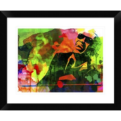 "'Ray Charles' Framed Watercolor Painting Print Size: 18"" H x 22"" W x 1.5"" D DPF-454019-1216-313"