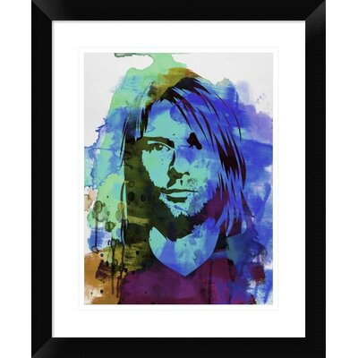 "'Kurt Cobain ' Framed Watercolor Painting Print Size: 22"" H x 18"" W x 1.5"" D DPF-454018-1216-313"