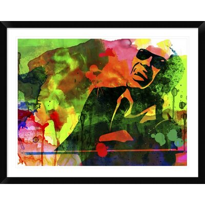"'Ray Charles' Framed Watercolor Painting Print Size: 30"" H x 38"" W x 1.5"" D DPF-454019-2432-313"