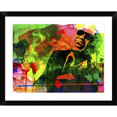 "'Ray Charles' Framed Watercolor Painting Print Size: 24"" H x 30"" W x 1.5"" D DPF-454019-1824-313"