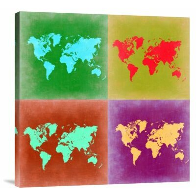 'Pop Art World Map 3' Graphic Art Print on Canvas GCS-399942-1818-142