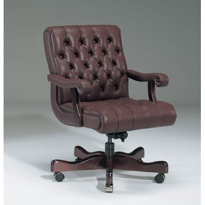 Low-Back Tufted Office Chair with Deluxe Control Upholstery: Night, Frame Finish: Walnut