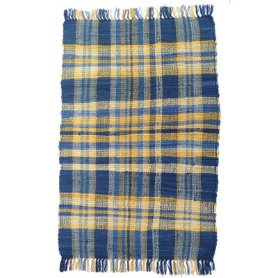 Country Blue/Yellow Area Rug Rug Size: 26 x 42