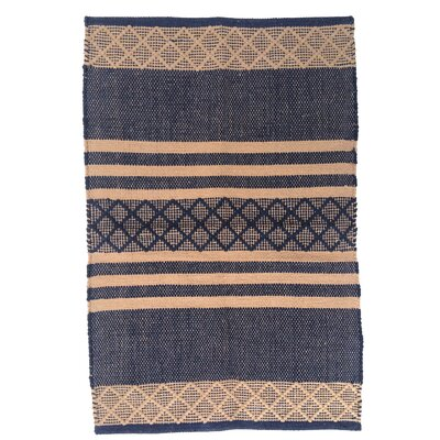 Atlas Navy/Tan Area Rug Rug Size: 26 x 42