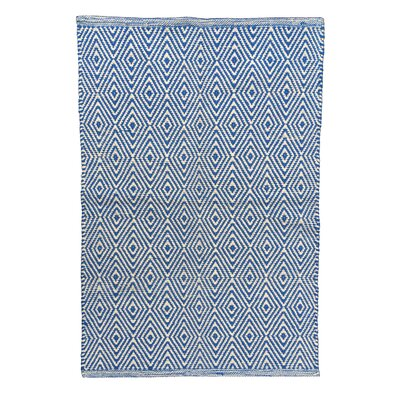 Diamond Blue/White Area Rug Rug Size: 26 x 42