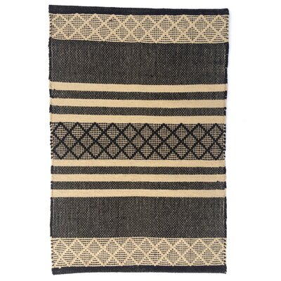 Atlas Black/Tan Area Rug Rug Size: 26 x 42